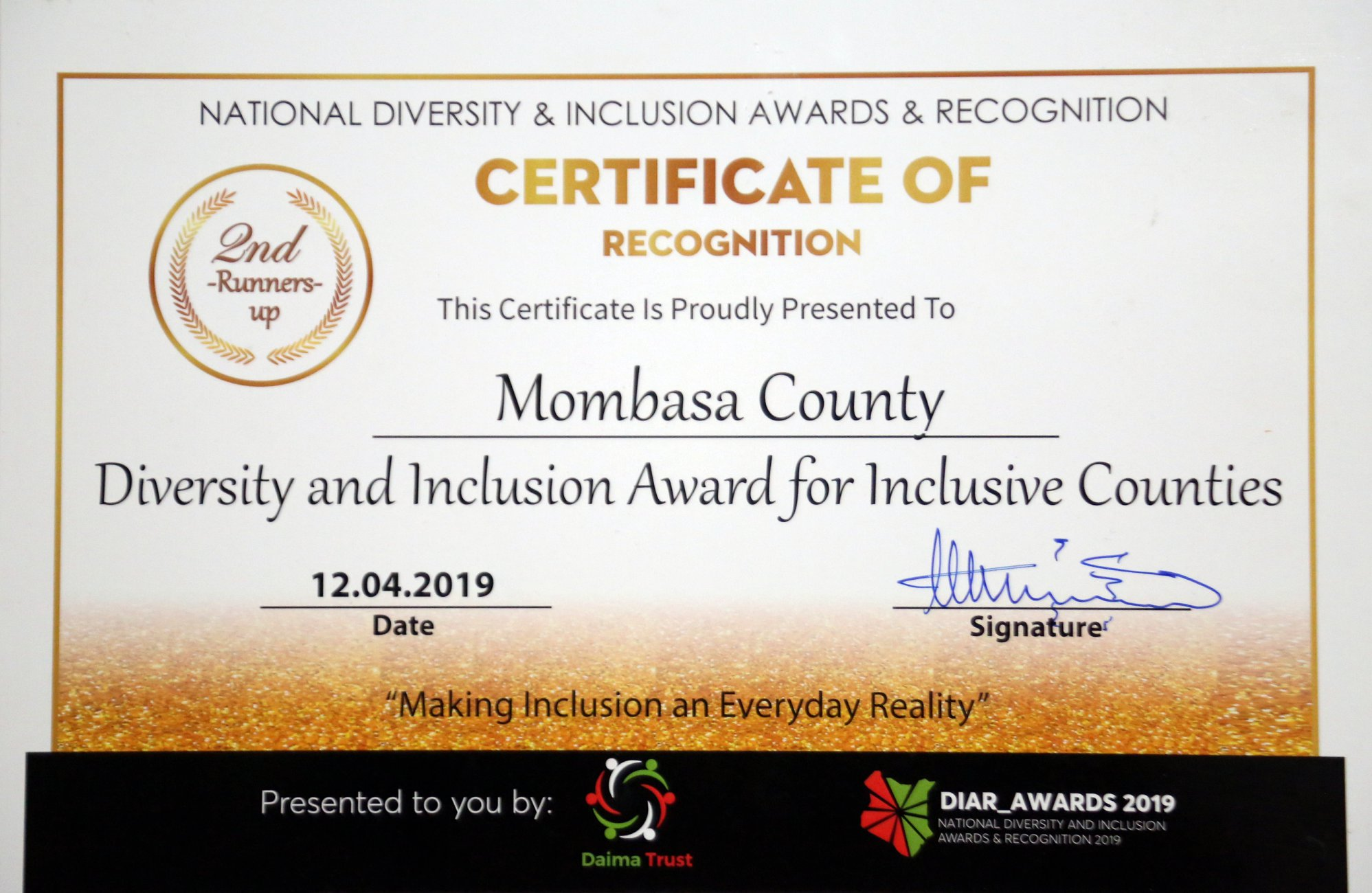 Mombasa County was last evening ranked 2nd Runners-up at the Diversity and Inclusion Awards Ceremony.